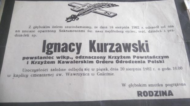 Kurzawski Ignacy s.Rocha i Katarzyny ur. 7.09.1902 w Świecy pow.Odolanów 18.08.1982 Gniezno #Odolanów