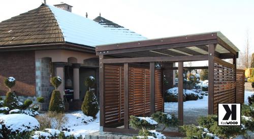 nowoczesny drewniany garaż