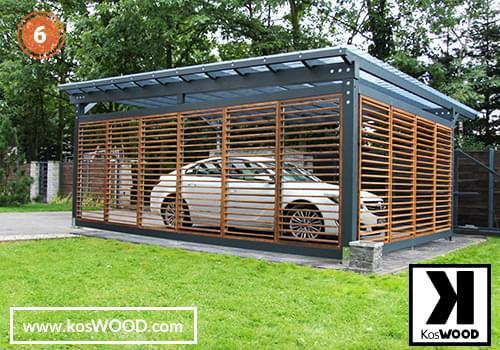nowoczesna wiata samochodowa wykonana z drewna klejonego warstwowo z żaluzjami regulowanymi