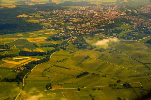 Widoki z samolotu na trasie München-Düsseldorf/Düsseldorf i fragment rzeki Rhein/ #krajobrazy z #lotu #ptaka #alicjaszrednicka #pejzaże