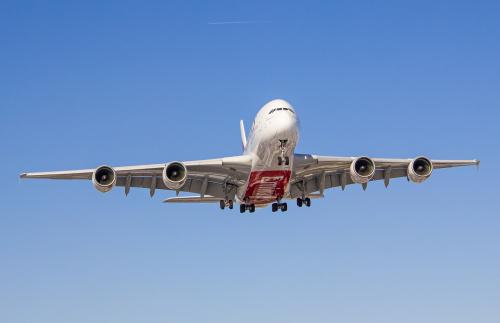 Podchodzenie A380 do lądowania. Pogoda dopisała :)