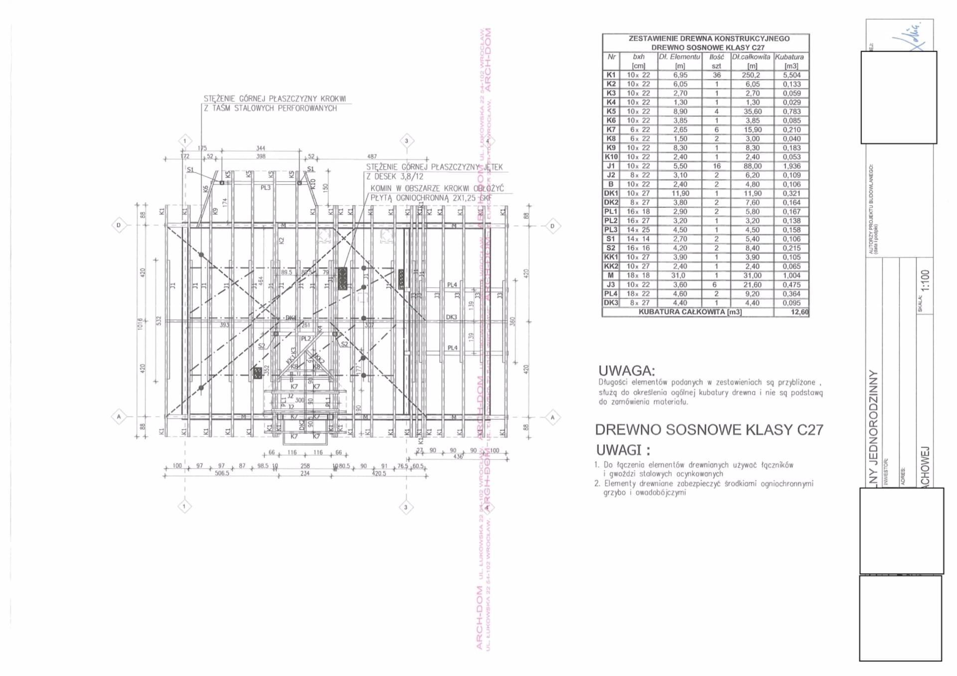 Dodatkowe konstrukcja więzby projektu domu typowego - Forum budowlane GK83