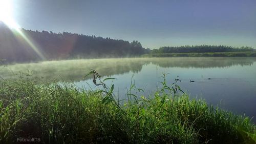 #poranek #jezioro #słońce #mgła # las