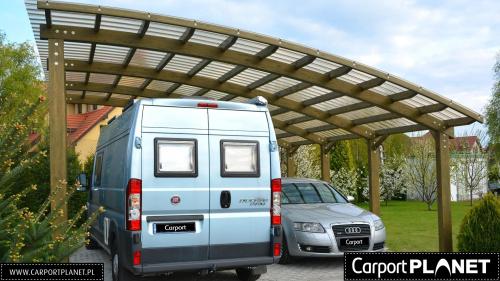 wiata garażowa wolnostojąca na dwa samochody projekt p2 z poliwęglanu