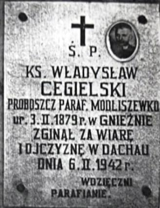 Władysław Cegielski ks. 1879 1942 par. Modliszeweko Tablica
